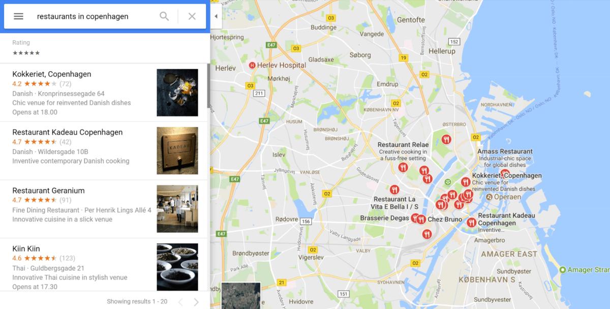 Hľadanie práce v Dánsku cez Google Maps