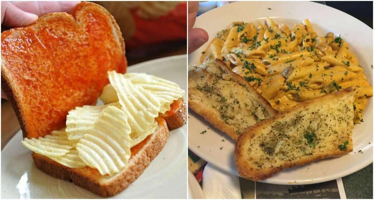 Štúdium v Anglicku, cestoviny s cesnakovým chlebom a sendvič s chipsami